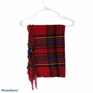 Red blue & yellow plaid scarf with tassles